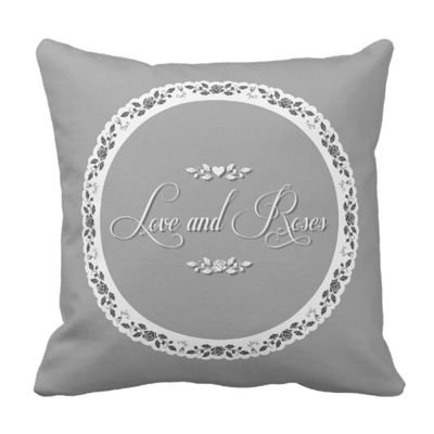 Poduszka szara Shabby Chic LOVE and ROSE pod-6127