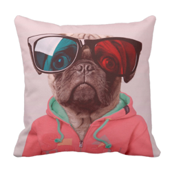 Poduszka pies MOPS PUG hipster pod-6187